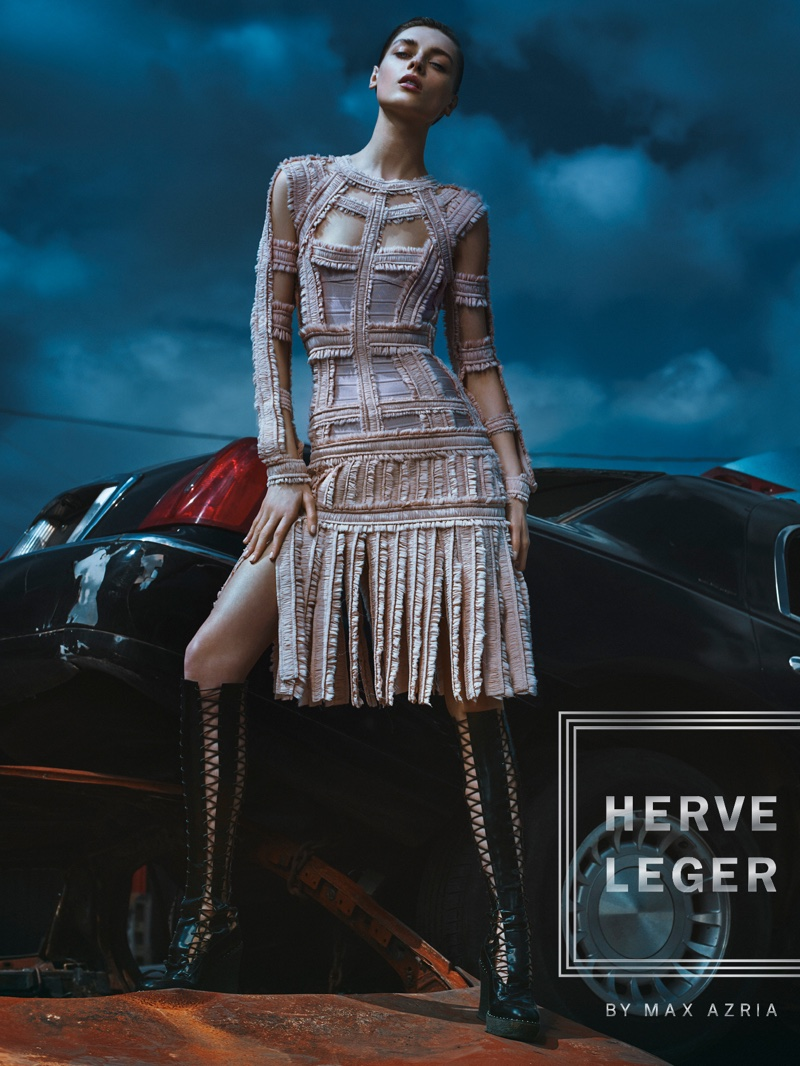 Herve Leger spotlights a punk inspired fringe dress for fall-winter 2016 campaign