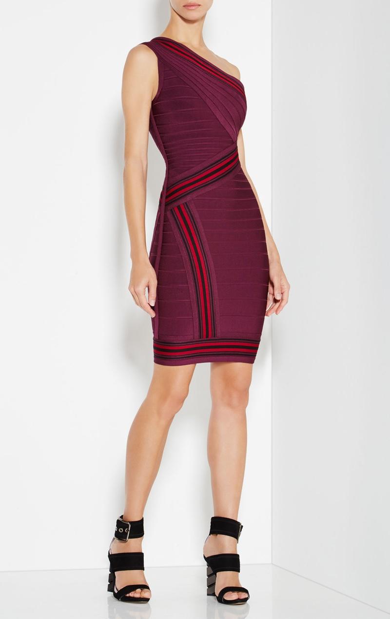 Herve Leger Kayla Jacquard Stripe Detail Dress