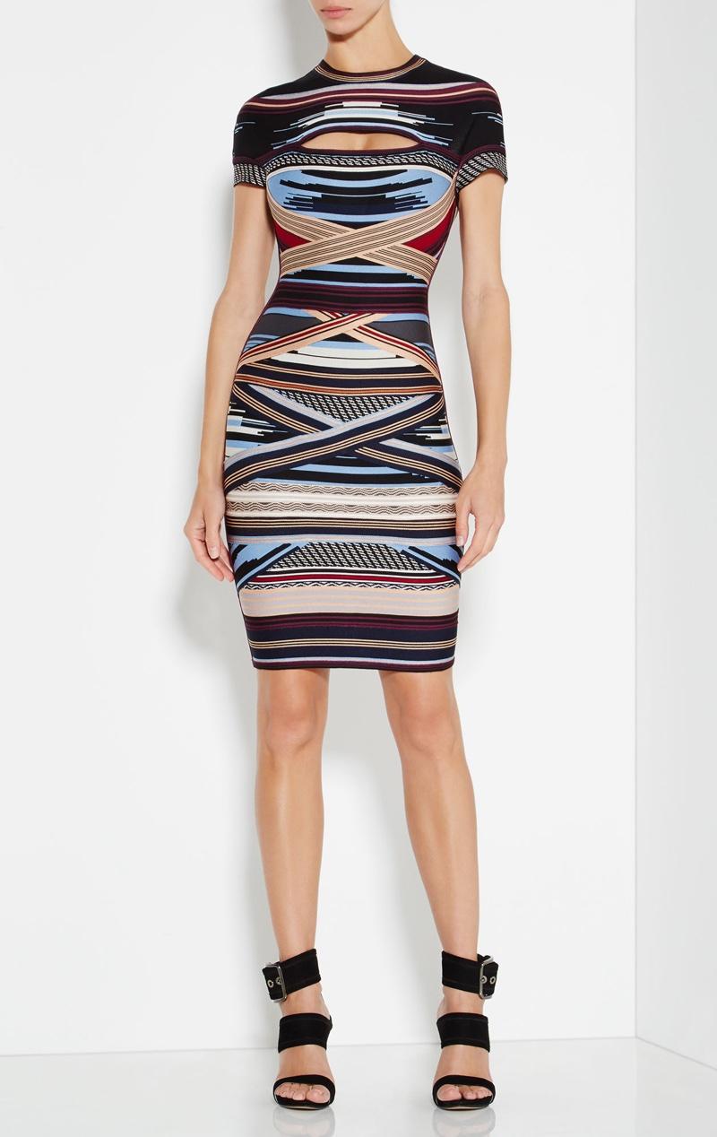 Herve Leger Lisette Engineered Multi-Stripe Dress