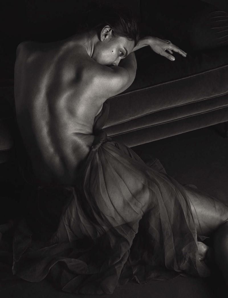 Irina Shayk models sheer Rochas dress