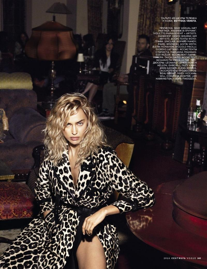 Irina Shayk poses in leopard spotted coat