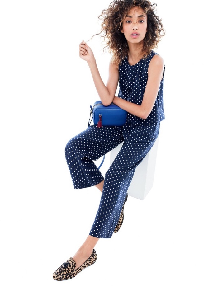 J. Crew Silk Overlay Jumpsuit in Polka Dot, Charlie Tassel Loafers in Leopard Calf Hair and Signet Bag in Italian Leather