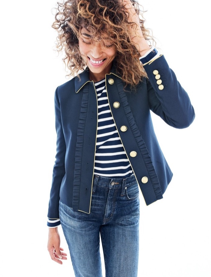 J. Crew Lady Jacket with Ruffles, Saint James Unisex Meridien II Nautical T-Shirt and Point Sur Stevie X-Rocker Jean in Iris Wash