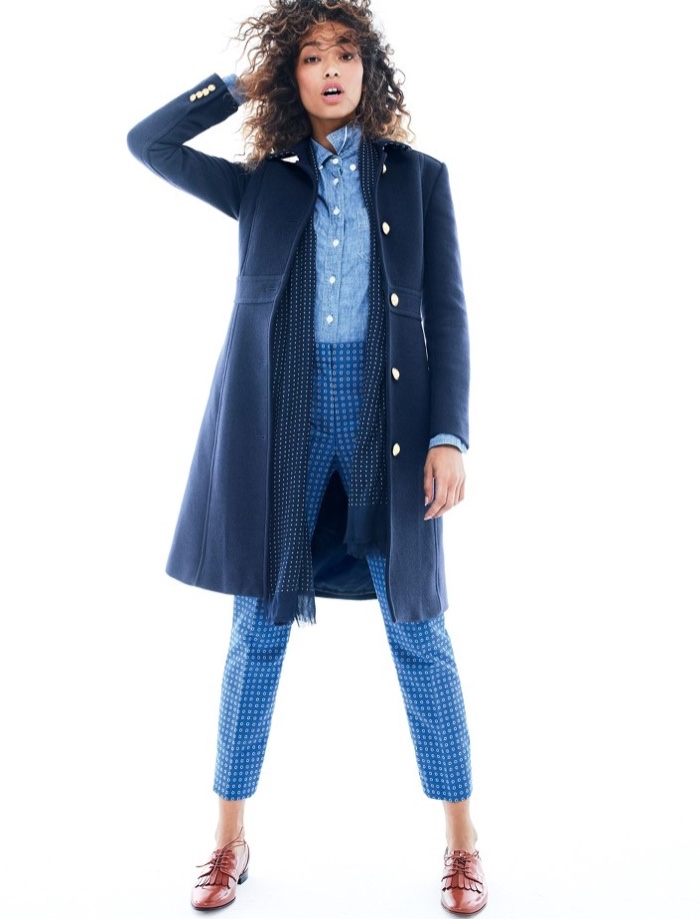 J. Crew Lady Day Coat with Gold Buttons, Selvedge Chambray Shirt, Cigarette Pant in Foulard Jacquard, Lightweight Wool-Silk Dotted Scarf and Leather Oxfords with Fringe