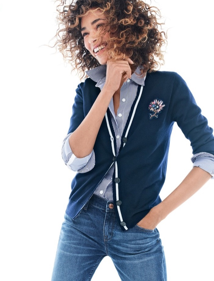 J. Crew V-Neck Cardigan Sweater with Floral Patch, Thomas Mason for J. Crew Stretch Shirt in Stripe and Slim Broken-In Boyfriend Jean in Hemlock Wash
