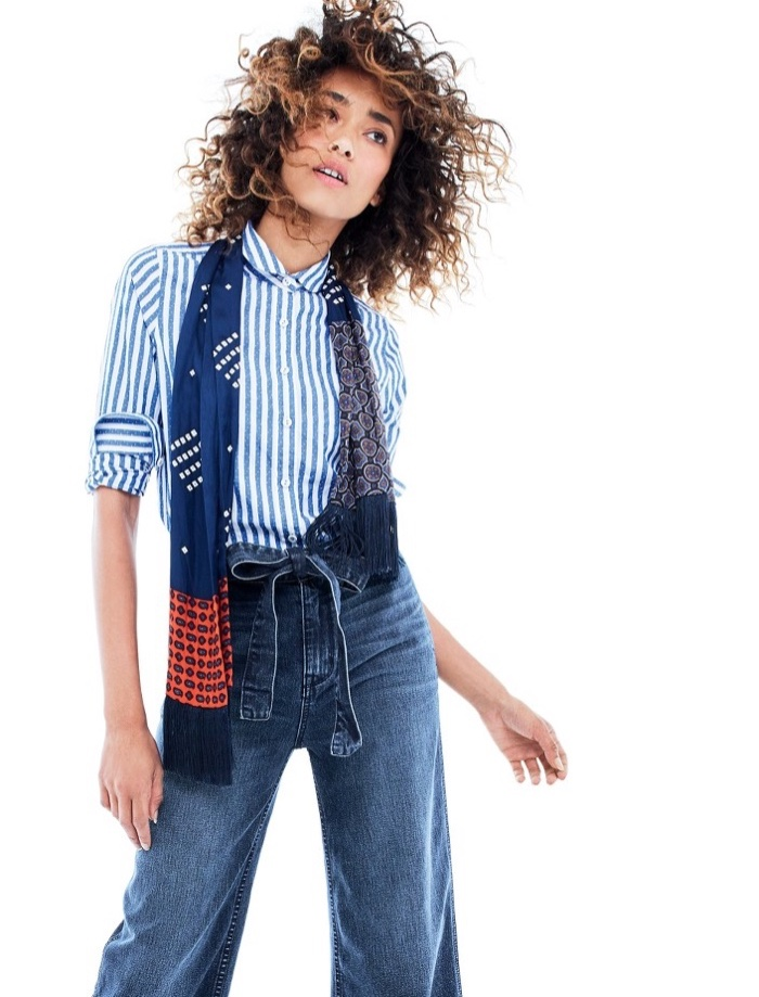 J. Crew Club-Collar Boy Shirt in Textured Jacquard Stripe, Rayner Wide-Leg Jean with Tie and Lightweight Silk Scarf in Printed Navy Patchwork
