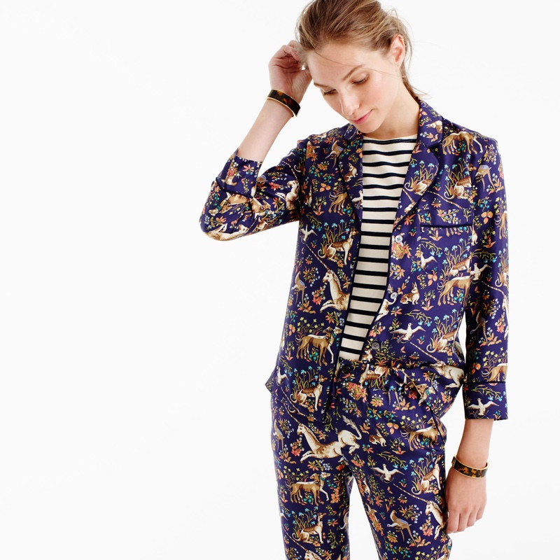 J. Crew Collection x Drake's Pajama Top in Midnight Unicorn