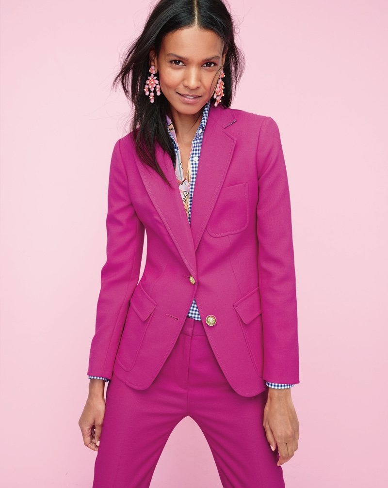 J. Crew Rhodes Blazer in Italian Wool, Gathered Popover Shirt in Two-Tone Gingham, Rhodes Pant in Italian Wool, Floral Cascade Earrings and Drake's for J. Crew Long Silk Scarf