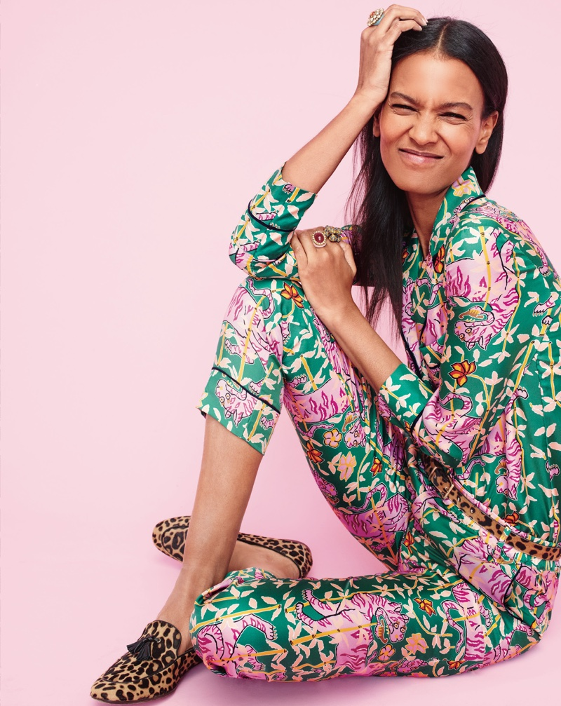 Drake's for J. Crew Collection Pajama Top and Pant in Green Bengal Tiger, J. Crew Crystal Burst Ring, Crystal Bouquet Ring, Enamel Ring, Leopard-Printed Calf Hair Belt and Charlie Tassel Loafers in Leopard Print Calf Hair