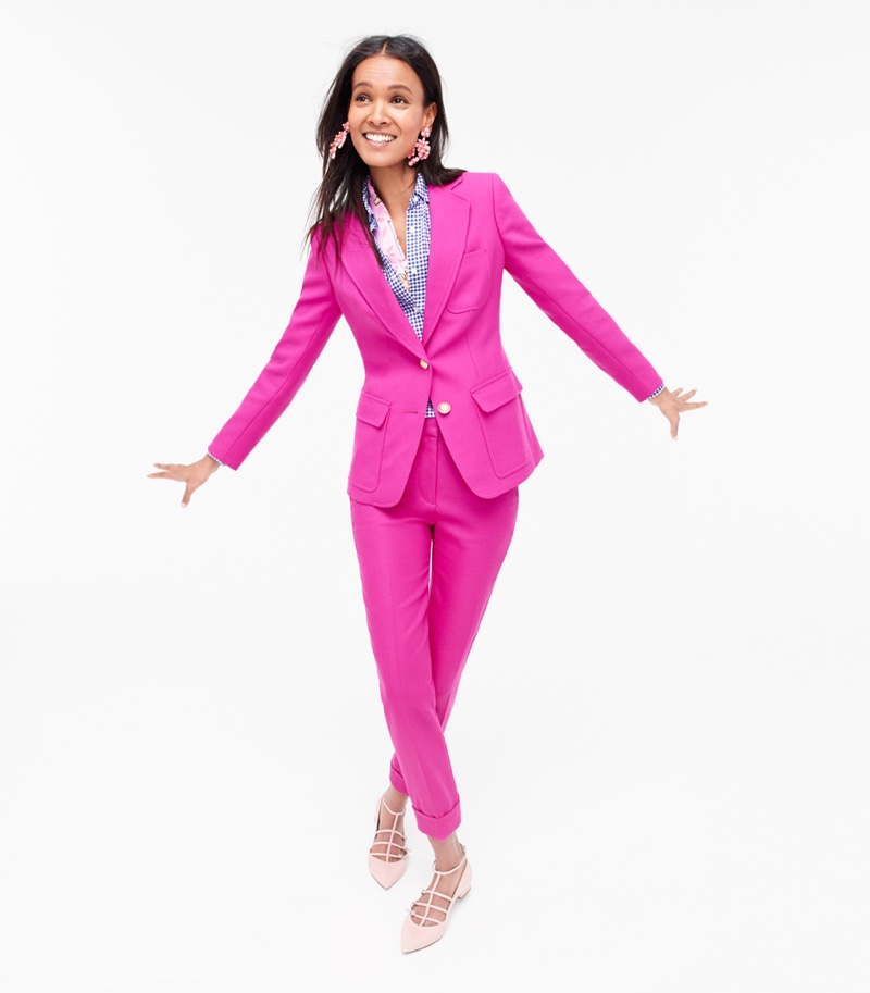 J. Crew Rhodes Blazer in Italian Wool, Gathered Popover Shirt in Two-Tone Gingham, Rhodes Pant in Italian Wool, Floral Cascade Earrings, Drake's for J. Crew Long Silk Scarf and Caged Flats in Glossy Leather