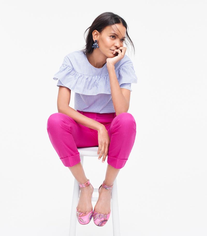 J. Crew Edie Top in Shirt Stripe, Rhodes Pant in Italian Wool, Oversized Crystal Earrings and Paisley Printed Leather Heels