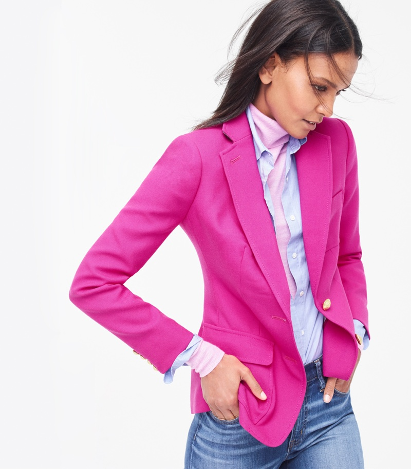 J. Crew Rhodes Blazer in Italian Wool, Boy Shirt in End-On-End Cotton, Italian Featherweight Cashmere Turtleneck and Lookout High-Rise Jean in Chandler Wash