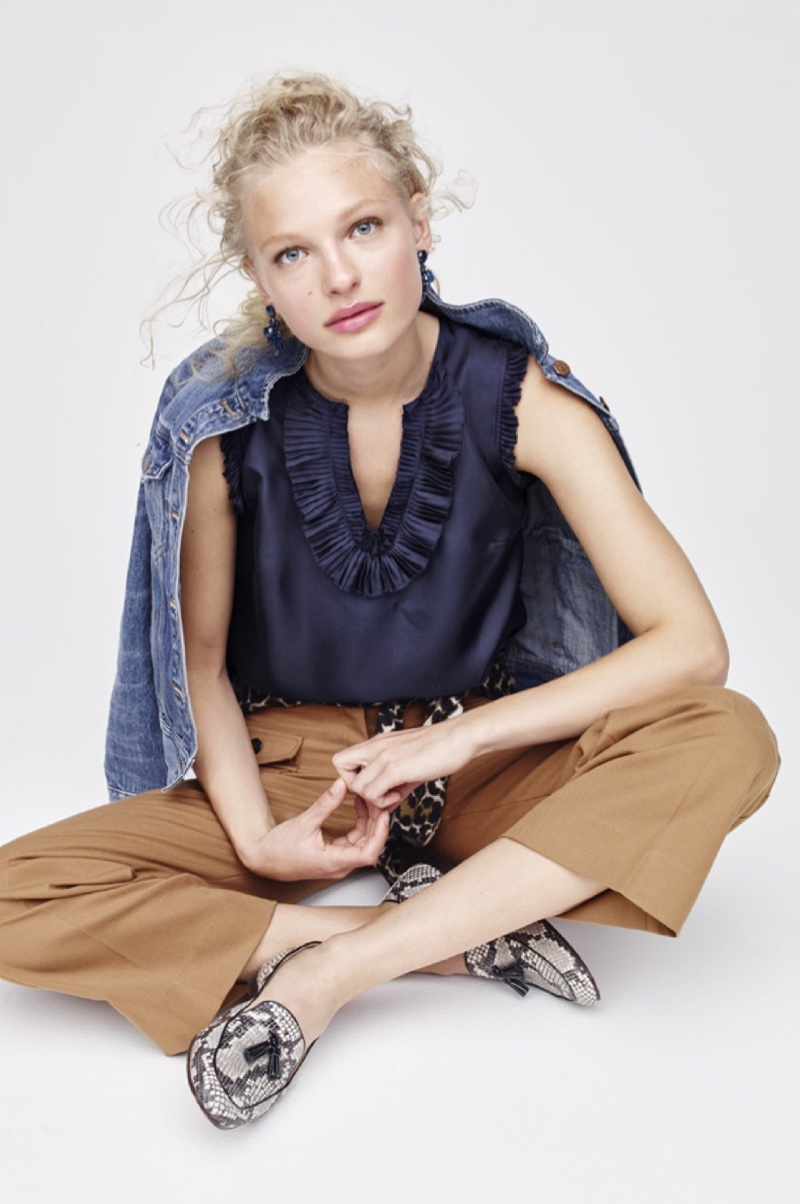 J. Crew Denim Jacket in Tyler Wash, Margot Top in Silk, Lightweight Wool Jackie Cardigan Sweater in Leopard, Wide-Leg Pant with Patch Pockets, Charlie Tassel Loafers in Snakeskin-Printed Leather and Oversized Crystal Earrings