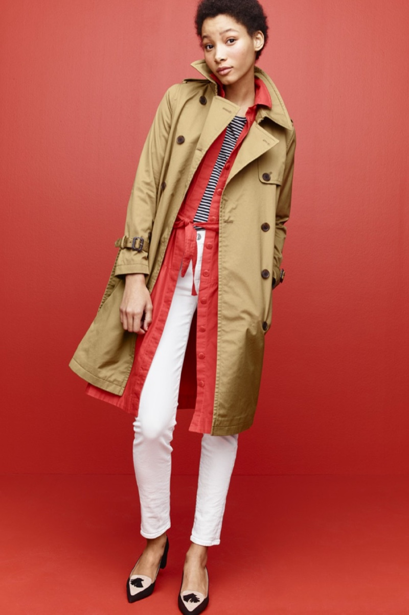 J. Crew City Trench, Tiered Fatigue Shirtdress, Ballet Cap-Sleeve T-Shirt in Stripe, Toothpick Jean in White and Avery Heels in Colorblock Suede