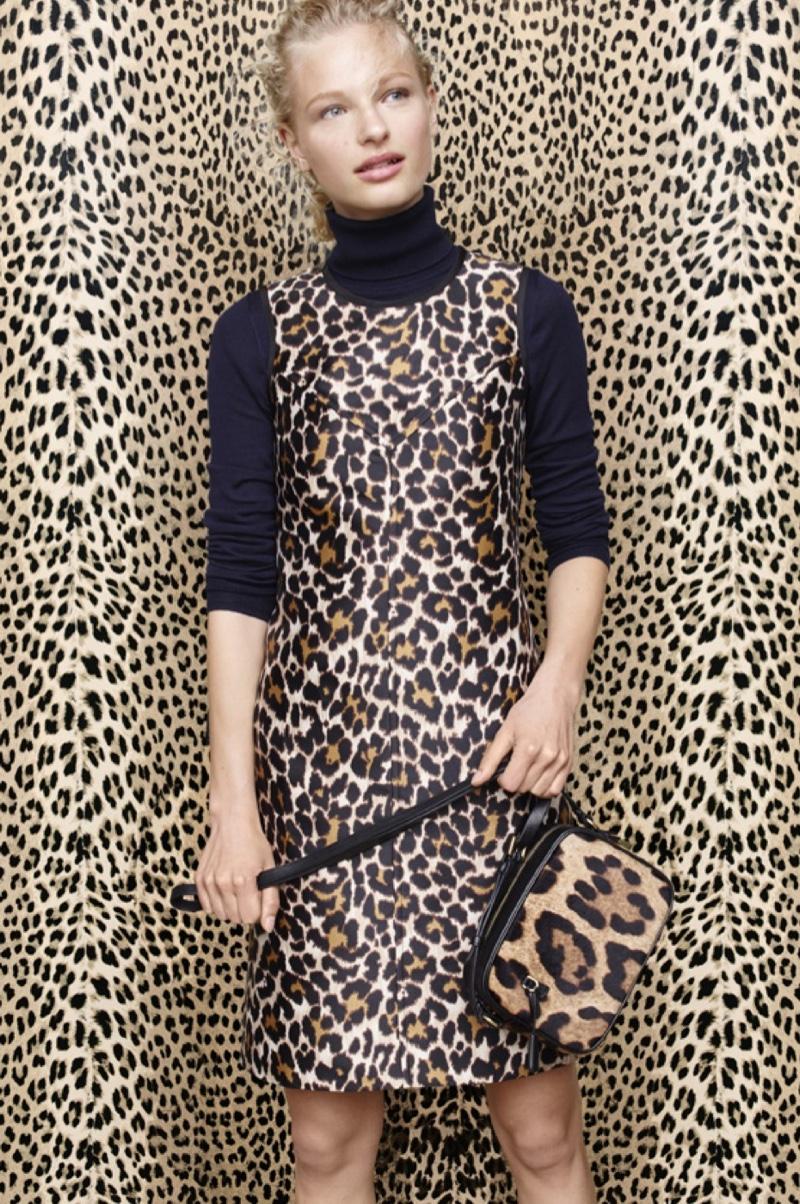 J. Crew Tippi Turtleneck Sweater, Shift Dress in Leopard Print and Signet Bag in Italian Leopard-Printed Calf Hair