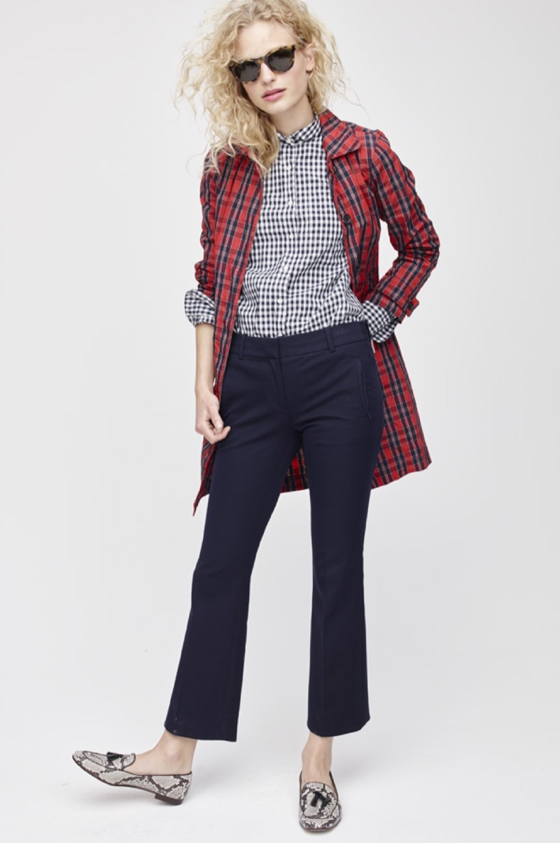 J. Crew Collection Red Plaid Trench Coat in Nylon, J. Crew Club Collar Boy Shirt in Gingham, Teddie Pant, Charlie Tassel Loafers in Snakeskin-Printed Leather and Jane Sunglasses