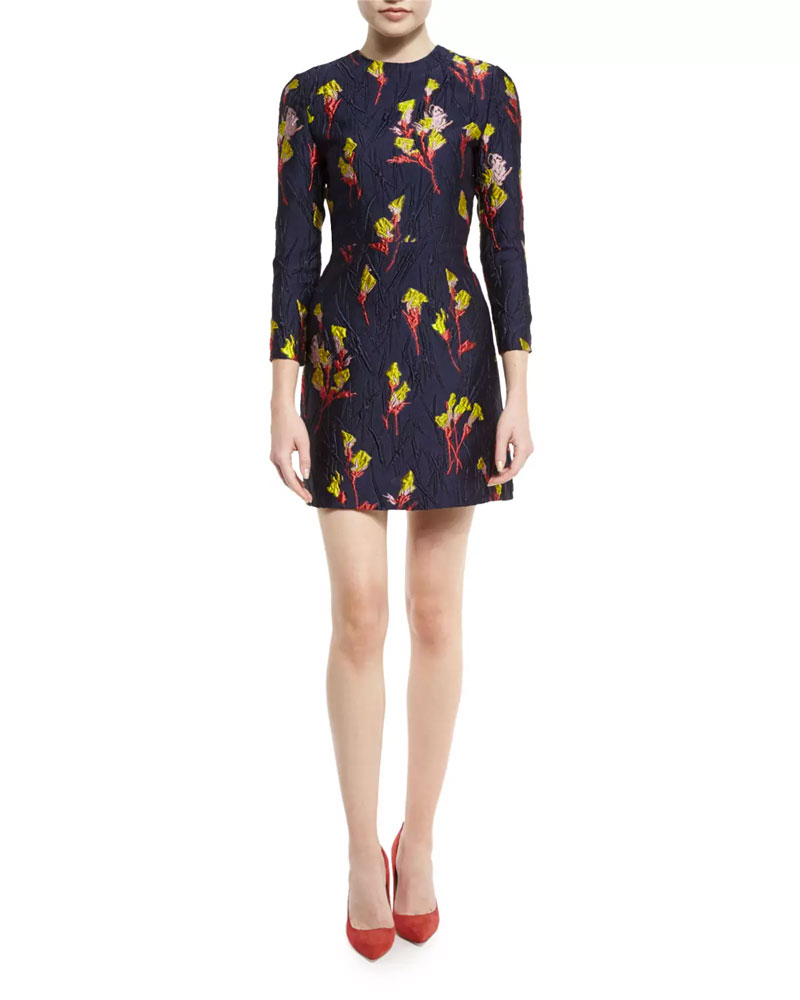 Jason Wu Floral Jacquard Dress with 3/4 Sleeve