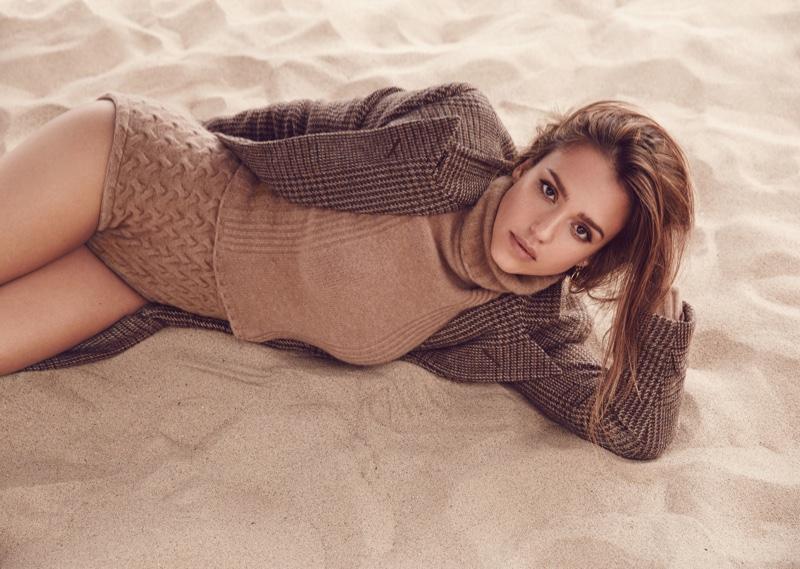 Jessica Alba wears Polo Ralph Lauren coat, Blumarine top and shorts