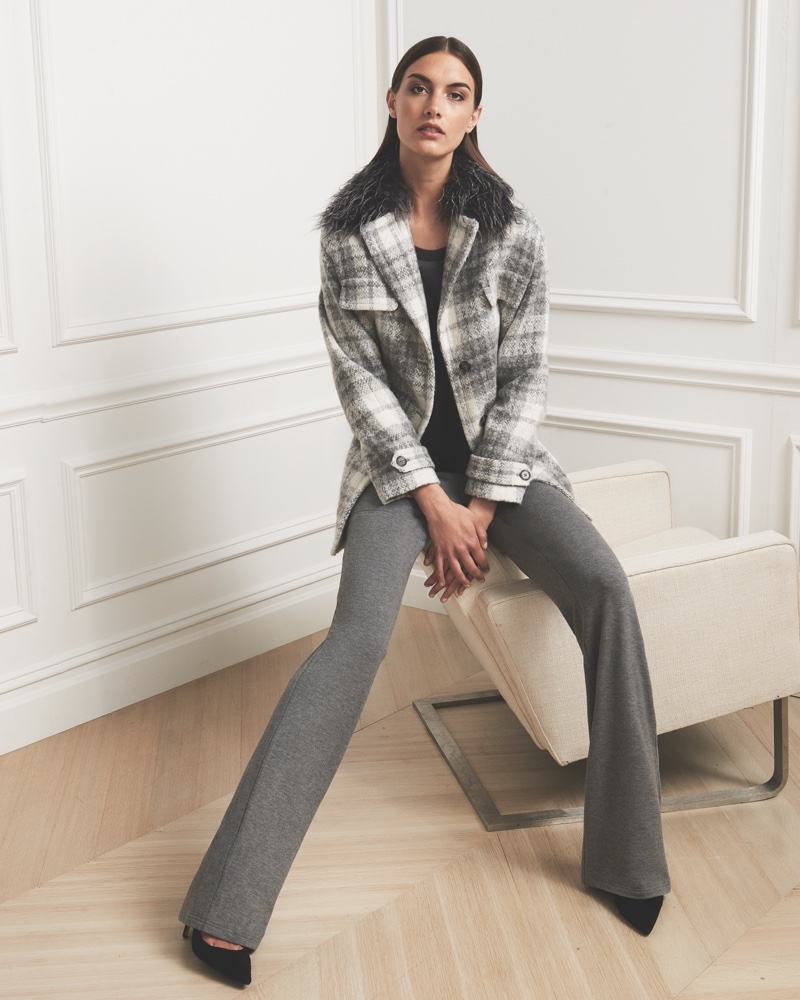 Jones New York Fall 2016 campaign: plaid faux fur collar coat and slim-cut pants