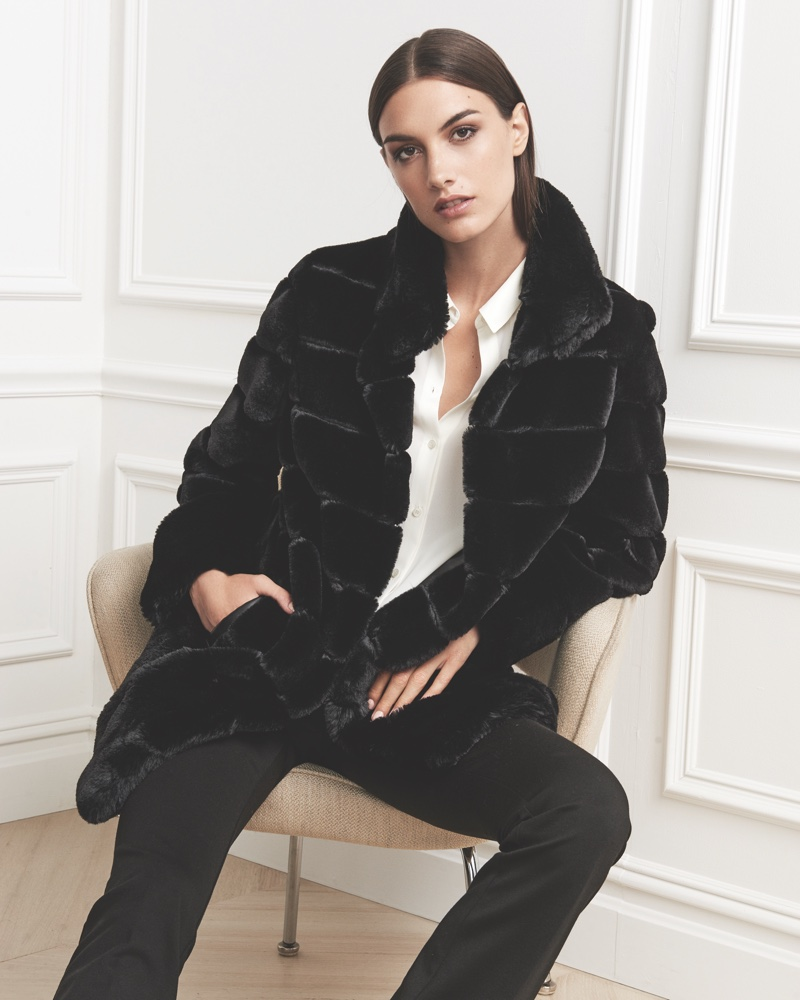 Jones New York Fall 2016 campaign: Luxe faux fur reversible vest, blouse and pants