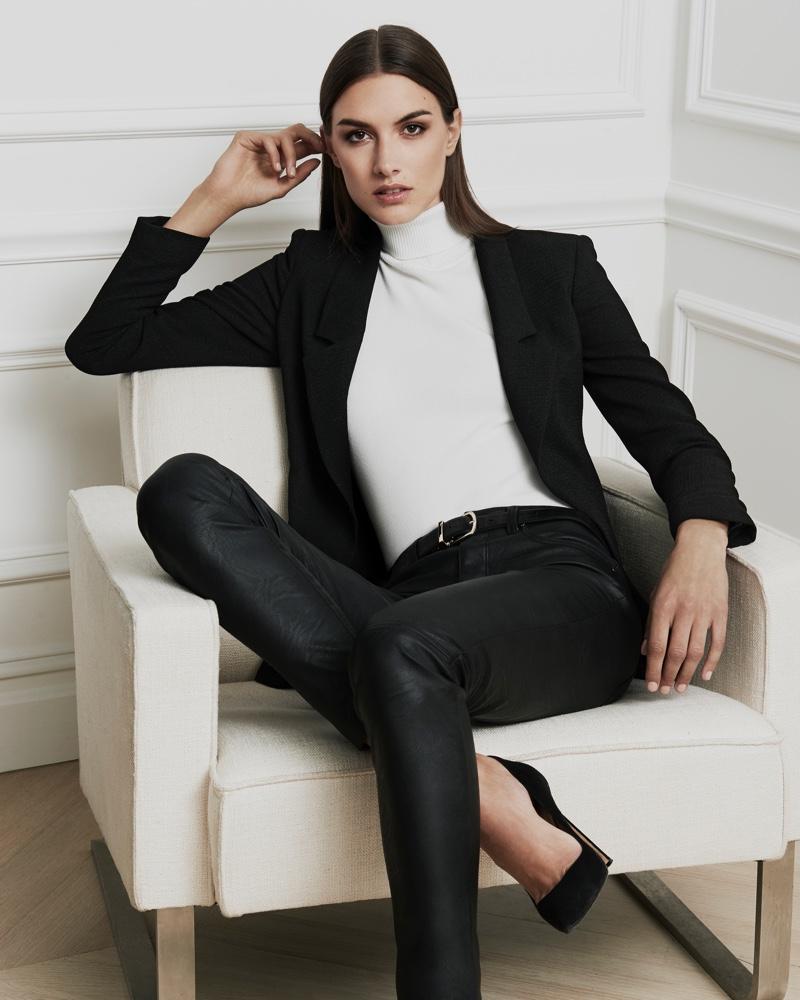 Jones New York Fall 2016 campaign: textured crepe boyfriend blazer, turtleneck sweater and pants
