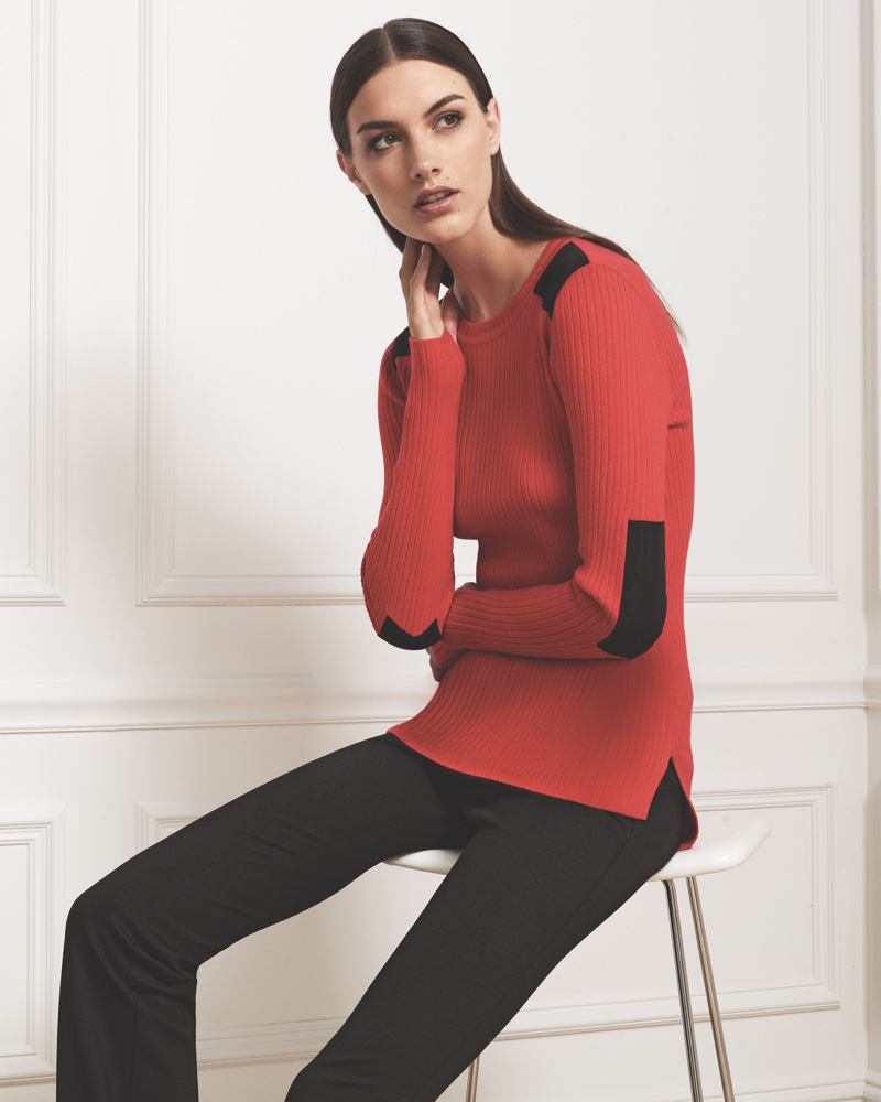 Jones New York Fall 2016 campaign: long-sleeved fitted sweater with patches