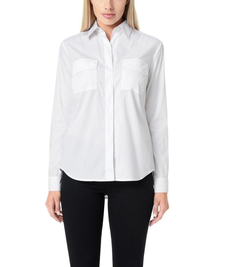 Jones New York Long Sleeve Crisp White Cotton Shirt