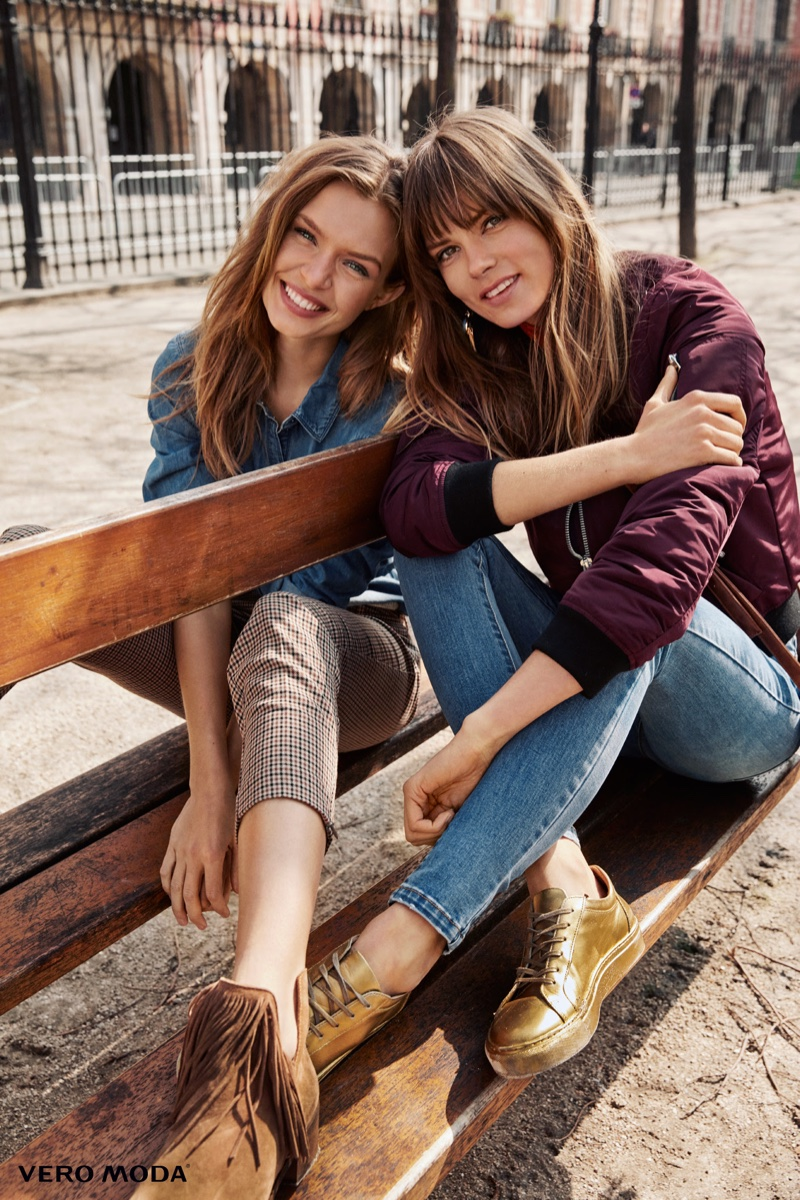 Photographed by Asa Tallgard, Josephine Skriver and Caroline Brasch Nielsen are all smiles in Vero Moda's fall advertisements