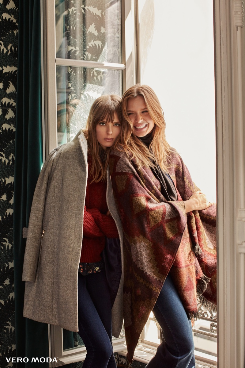 Josephine Skriver and Caroline Brasch Nielsen layer up in fall outerwear