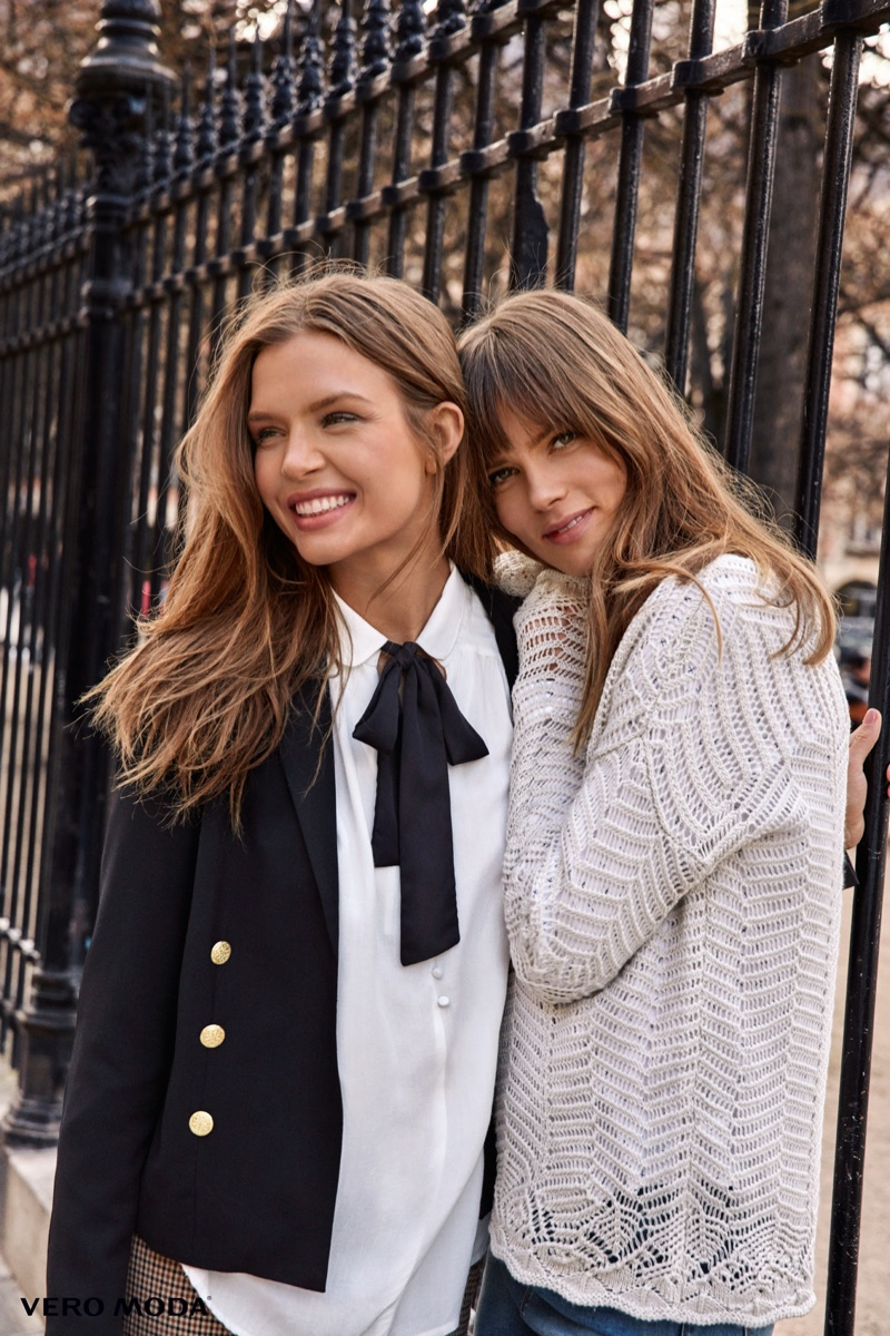 Decorated blazers and light knitwear stand out in Vero Moda's fall 2016 campaign
