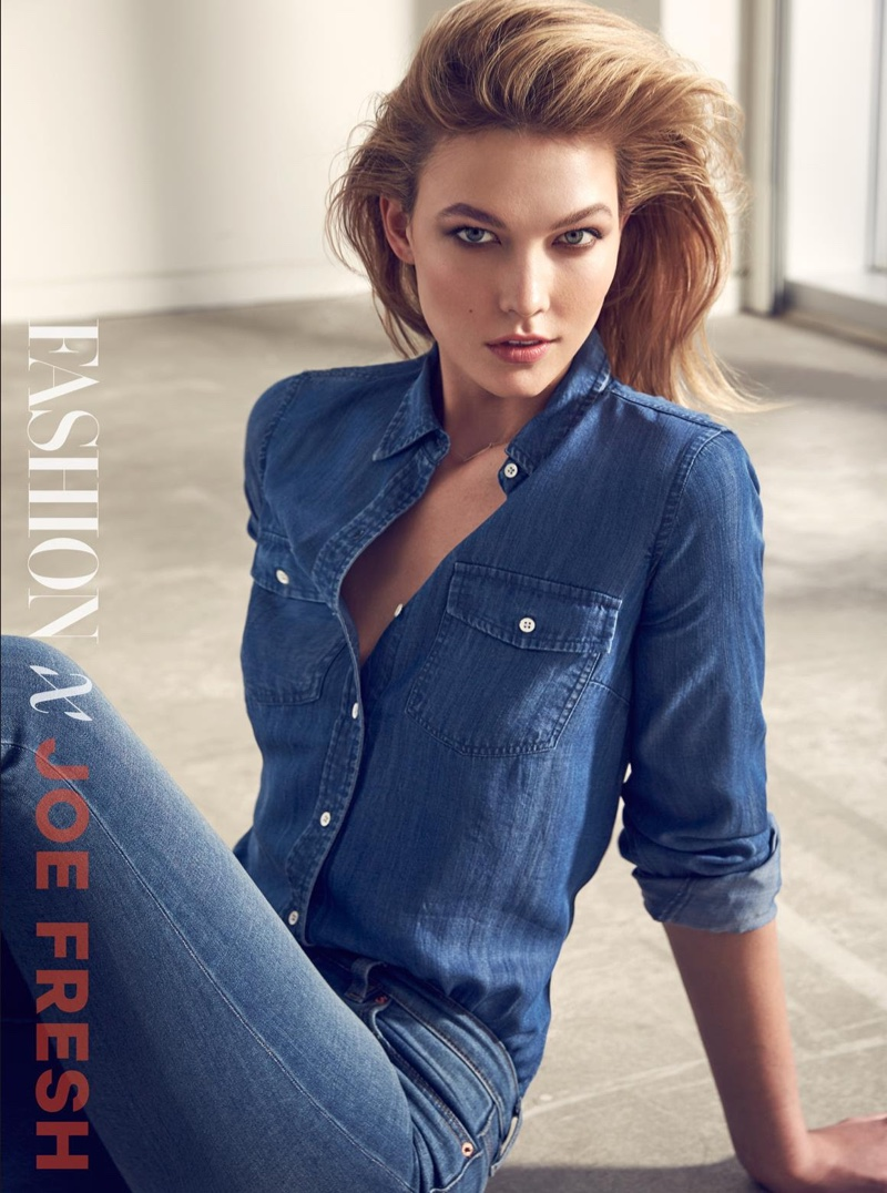 Karlie Kloss wears denim top and pants from Joe Fresh