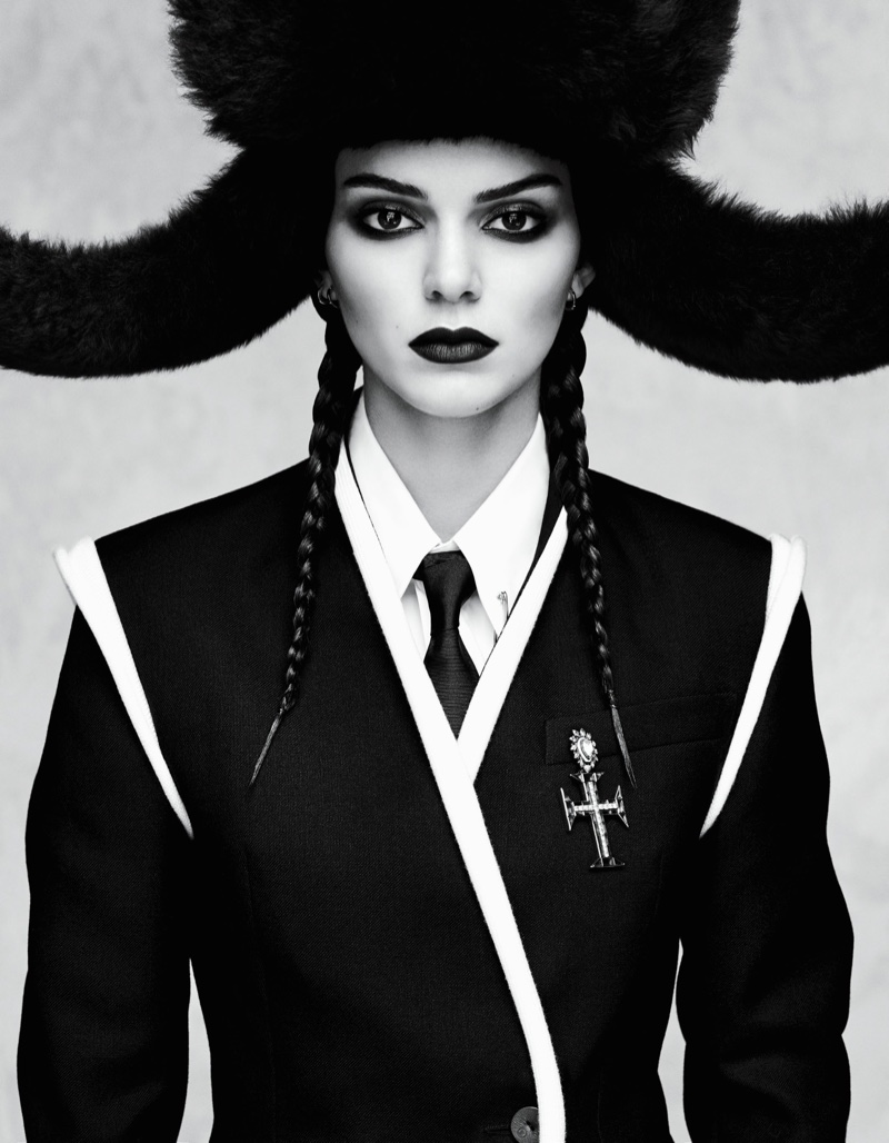 Kendall Jenner wears statement jackets and hats in the editorial