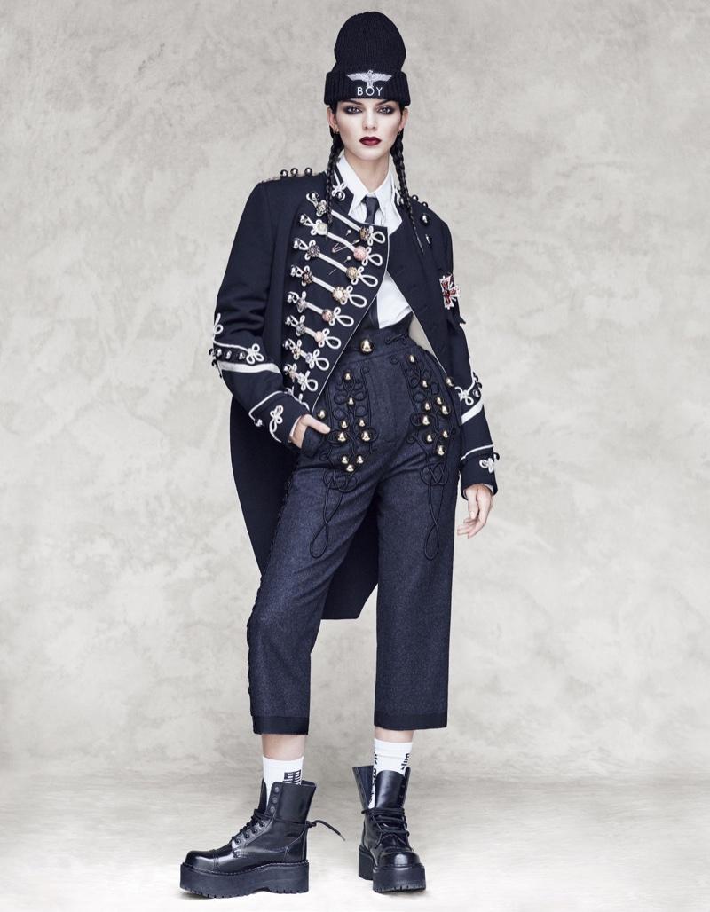 Kendall Jenner wears Dolce & Gabbana embellished jacket and high-waist pants