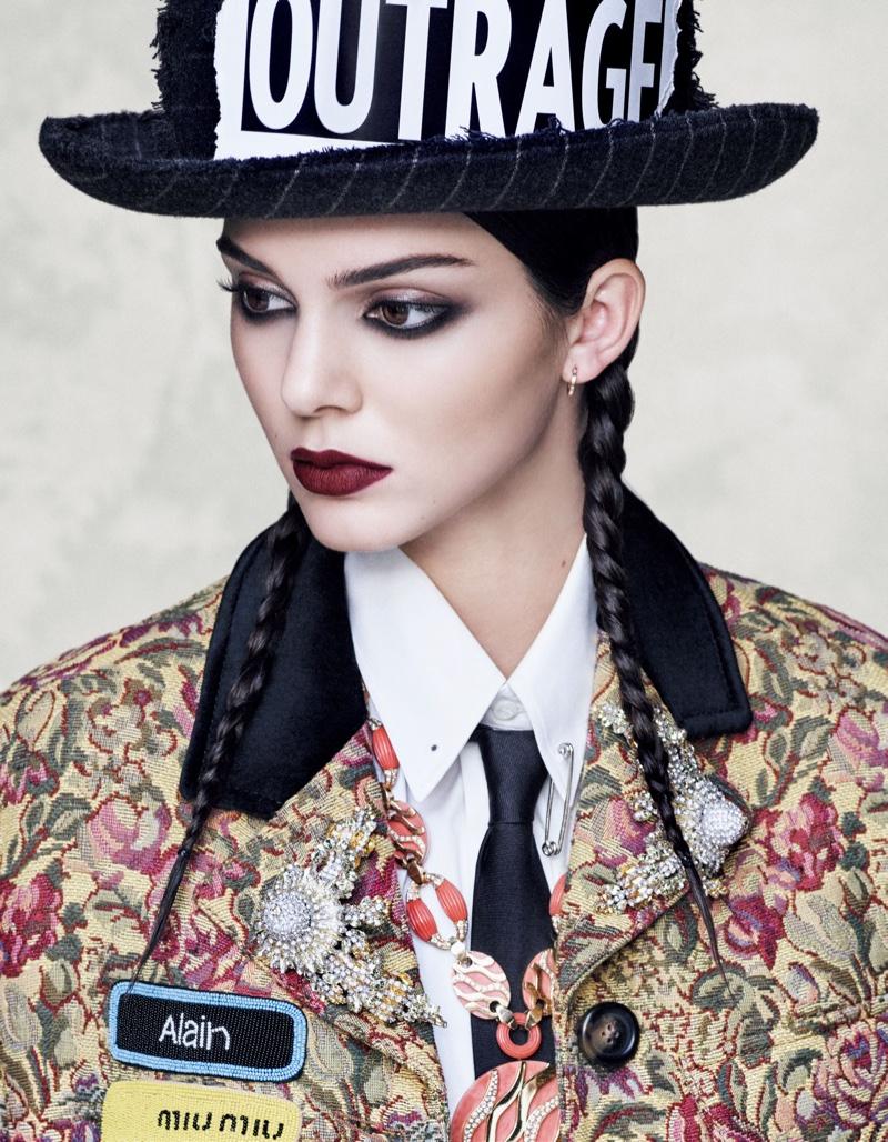 Kendall Jenner gets her closeup in Miu Miu brocade coat