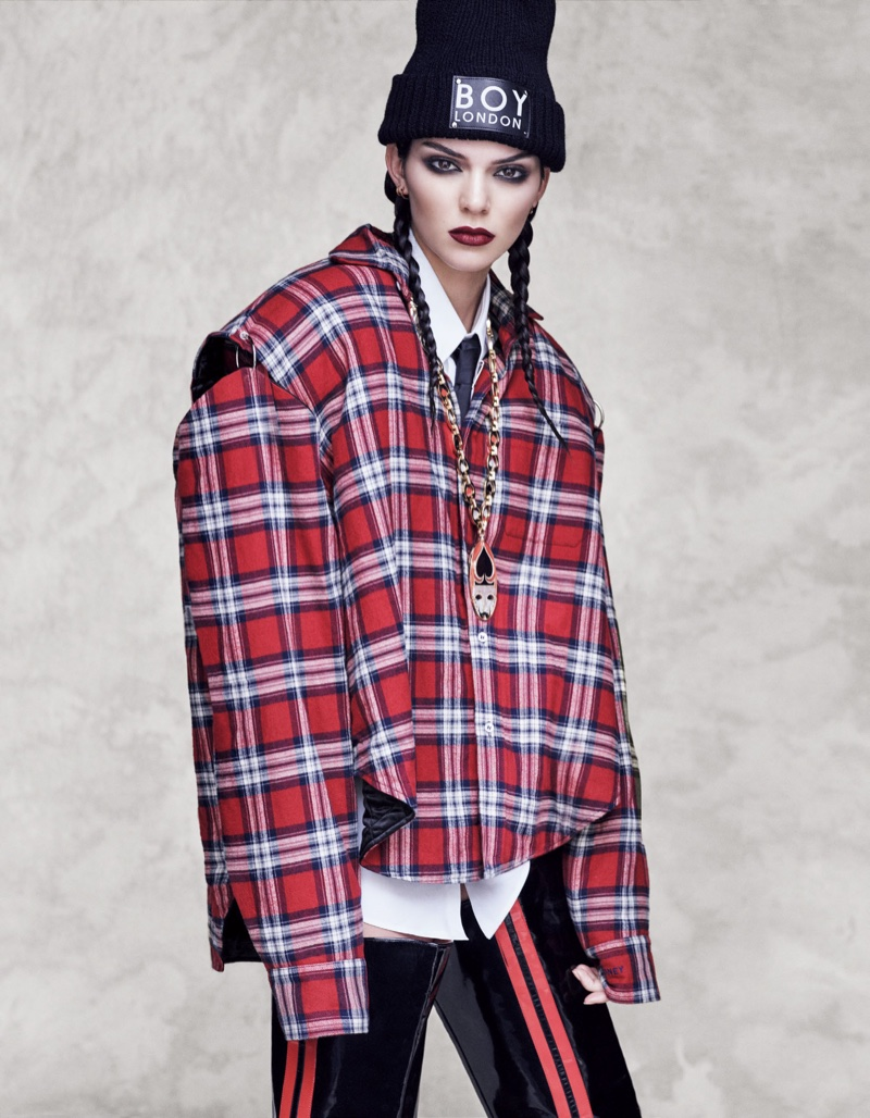 Kendall Jenner embraces plaid in boxy Vetements jacket