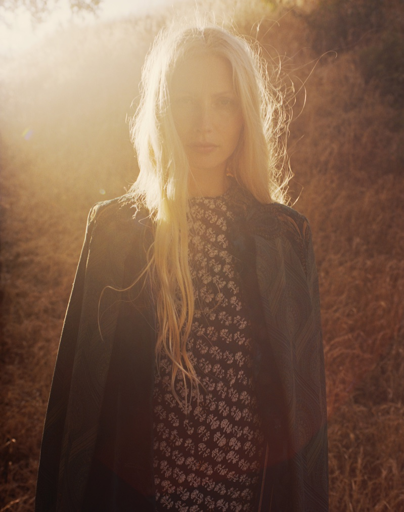 Photographed by Hilary Walsh, Kirsty Hume wears looks from bohemian clothing collective, Dôen