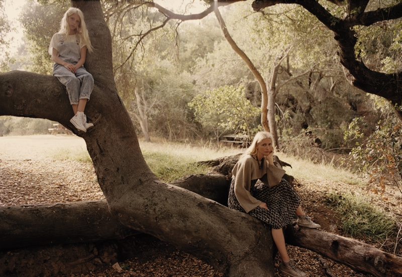 Kirsty Hume and daughter Violet pose in the great outdoors wearing boho looks