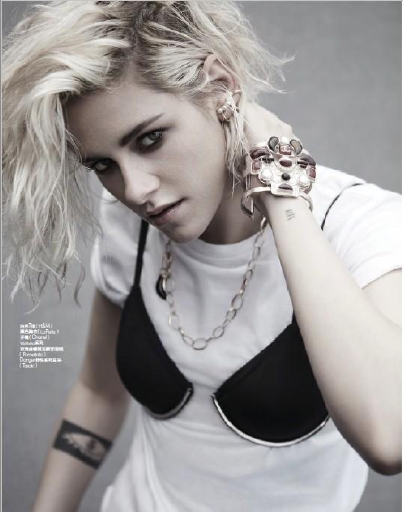 Kristen stewart takes the white t shirt to the next level with a