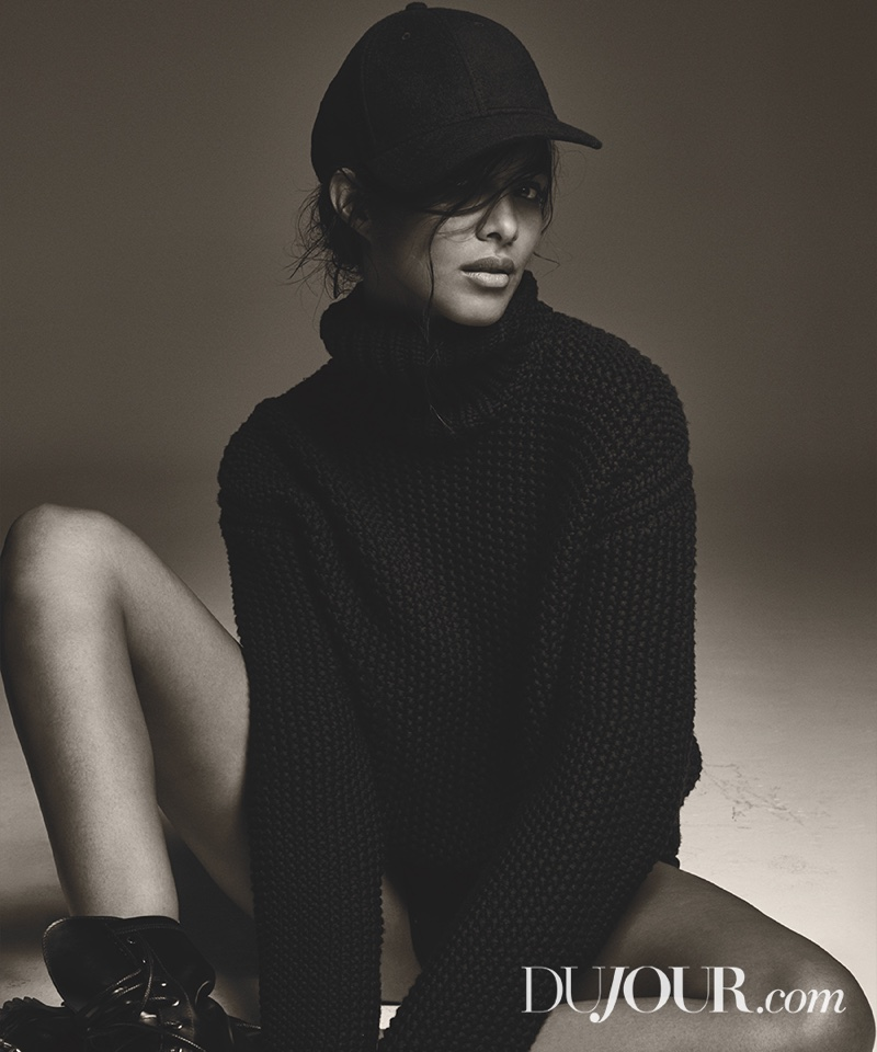 Lais Ribeiro keeps her cool in Hermes sweater, Gents Cap and Alexander Wang boots