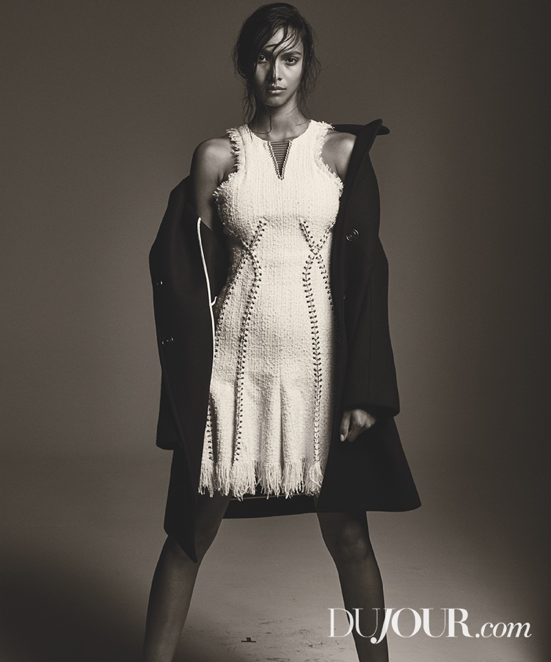 Lais Ribeiro stands strong in DKNY coat