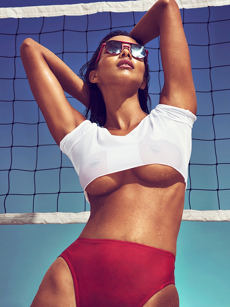 Lais Ribeiro flaunts her curves in American Apparel top, Norma Kamali bikini bottoms and Polaroid sunglasses