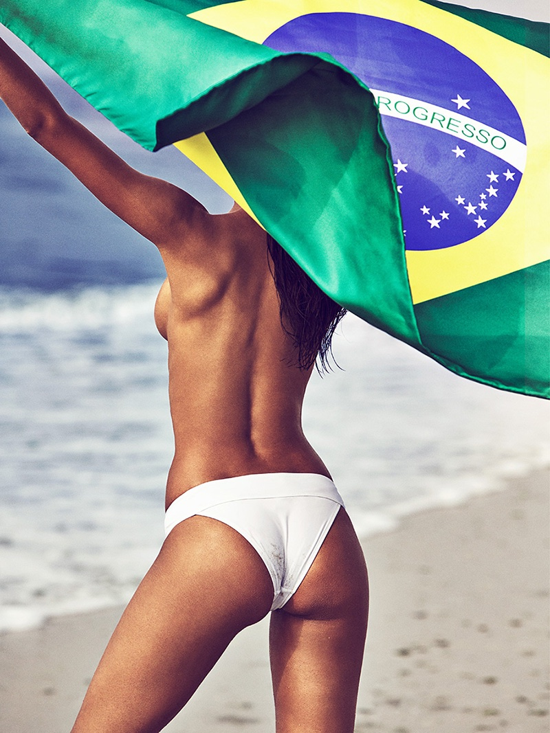 Lais Ribeiro flaunts her bikini body with the Brazilian flag