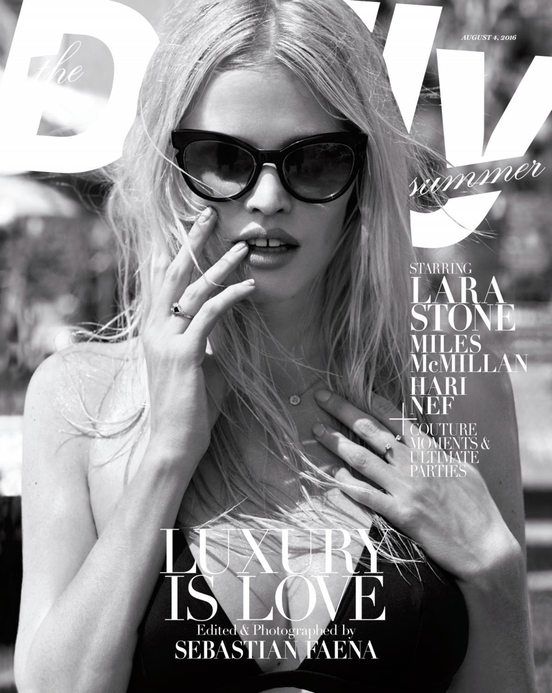 Lara Stone plays it cool, covering the August 2016 issue of The Daily magazine.