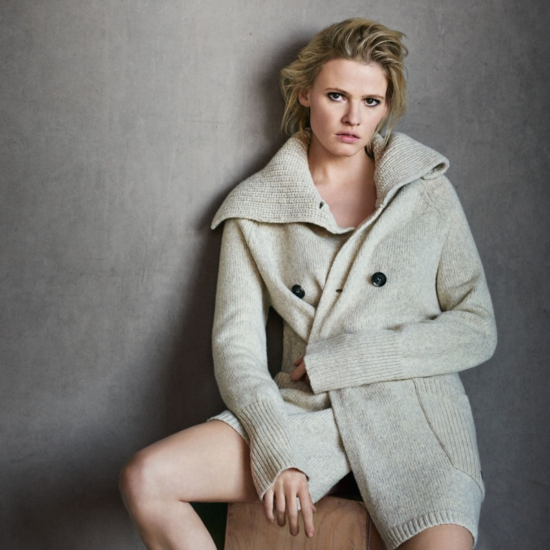 Lara Stone wears an oversized cardigan sweater as the star of Marc O'Polo's fall-winter 2016 campaign.