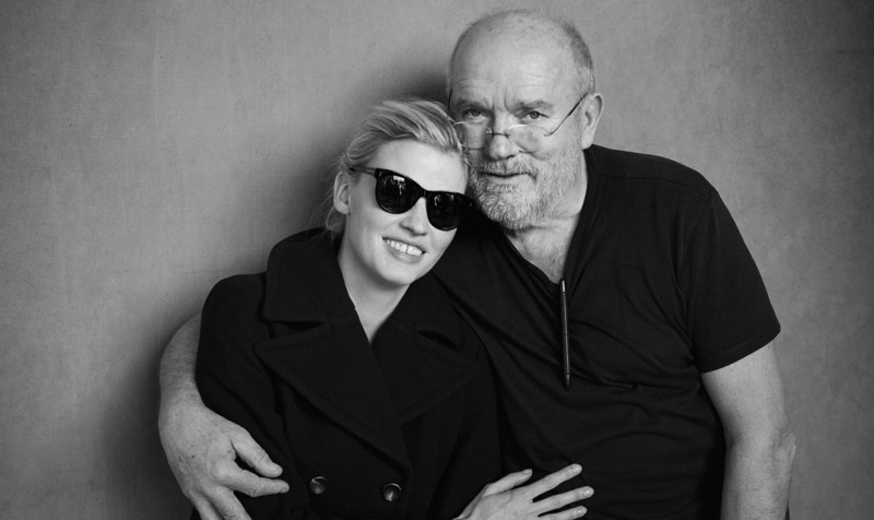 Behind the Scenes: Lara Stone poses with photographer Peter Lindbergh.