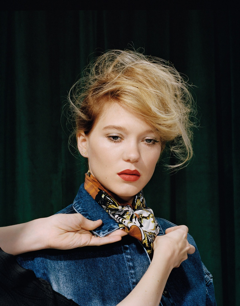 Lea Seydoux poses in tie-dye denim jacket from Stella McCartney with Roberto Cavalli silk scarf