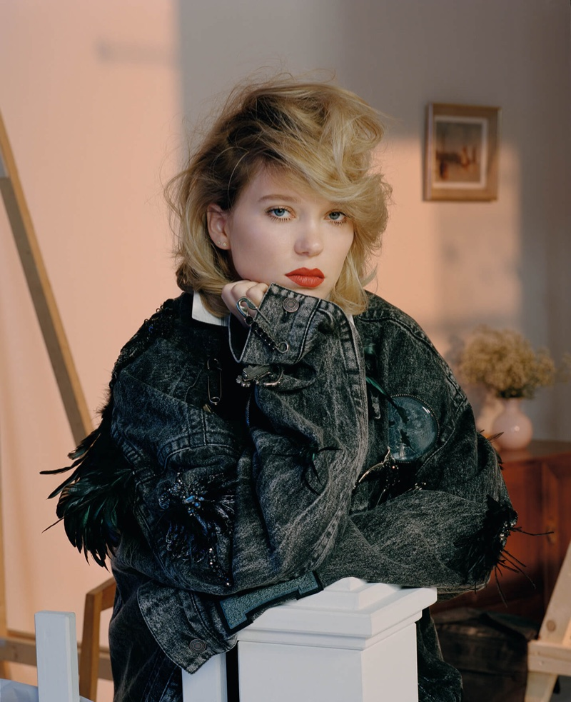 Lea Seydoux wears embellished denim jacket