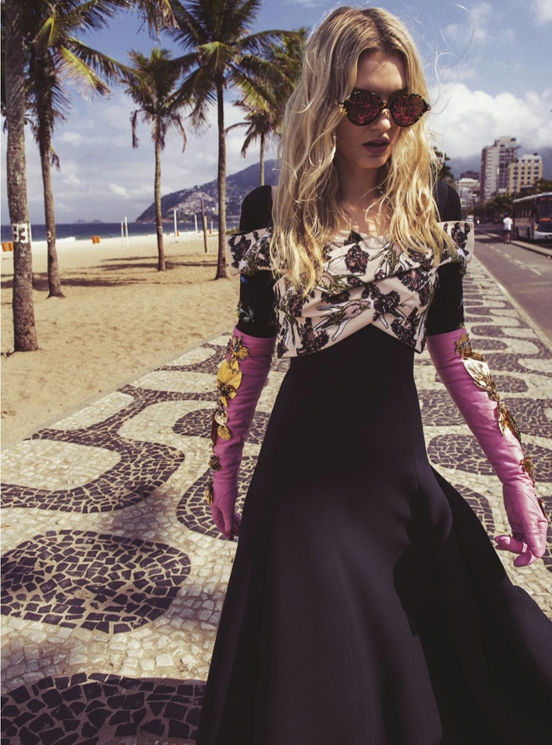 Lily Donaldson poses in Vogue Australia's September issue