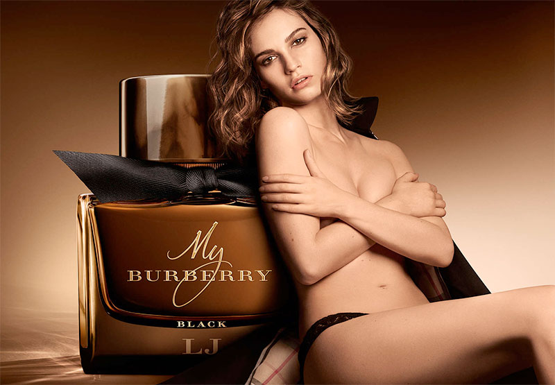 Lily James poses topless in Burberry My Burberry Black campaign