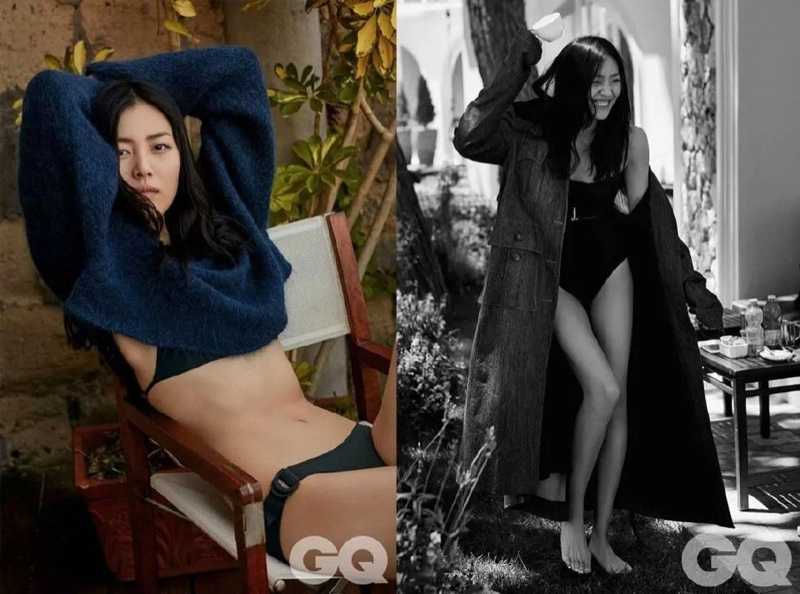 Liu Wen poses in sweater and bikini looks for the shoot